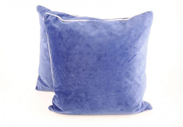 Mediterranean Blue Velveteen Pillows (2)