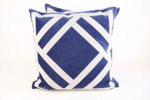 Royal Blue Pillows with White Geometric Trim (2)