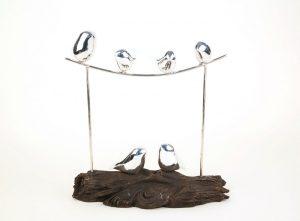 Silver Birds on a Branch Sculpture