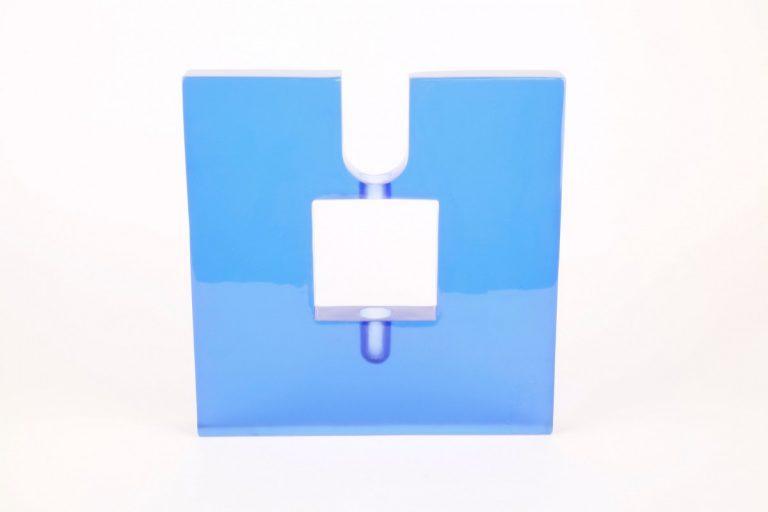 H-shaped blue glass candlestick