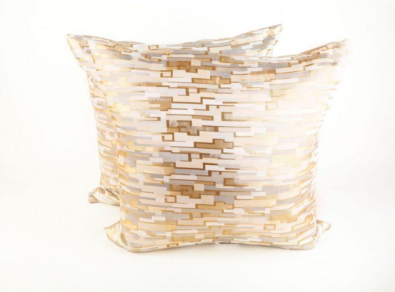 Metallic Gold and Silver Geometric Pillows