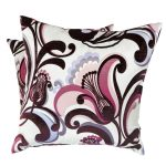 Purple and White Patterned Square Pillows (2)
