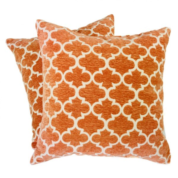 Geometric Orange and White Square Pillows (2)
