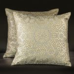 Square Gold Pillows with Metallic Silver and Gold Dots