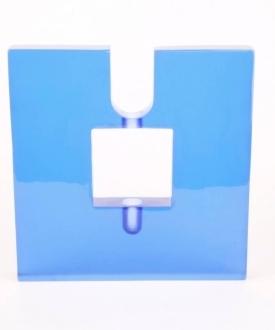 Contemporary Blue Glass Candlestick