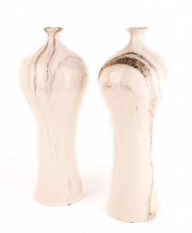 Grey and Cream Marble Vases (2)