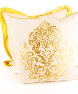 Yellow and White Embroidered Pillow