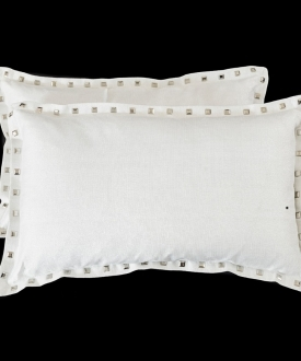 Rectangular Silver/White Threaded Pillows with Studs