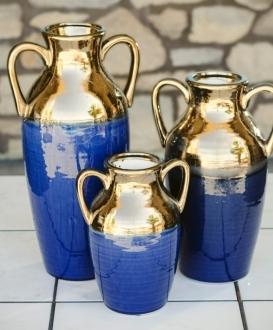 Blue and Gold Ceramic Urns (3)