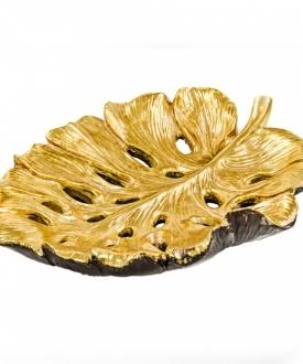 Large Gold Long Leaf Resin Bowl