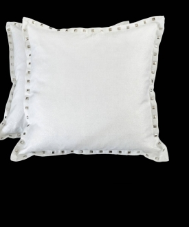 Square Silver/White Threaded Pillows w/ Studs (2)
