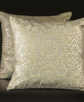 Square Gold Pillows with Metallic Silver and Gold Dots (2)